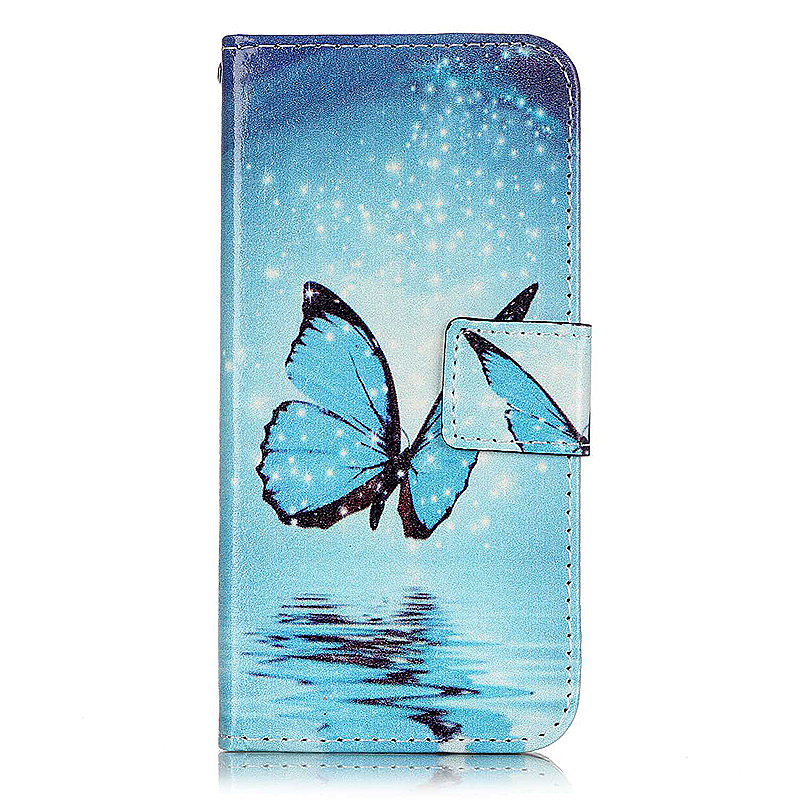 Soft Leather Book Wallet Slot Card Case Cover for iPhone 7 - Blue Butterfly