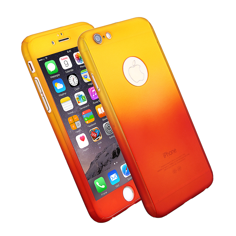 Full Coverage Colorful Hard Shockproof Cover with Tempered Glass Screen Protector for iPhone 6 - Yellow + Red