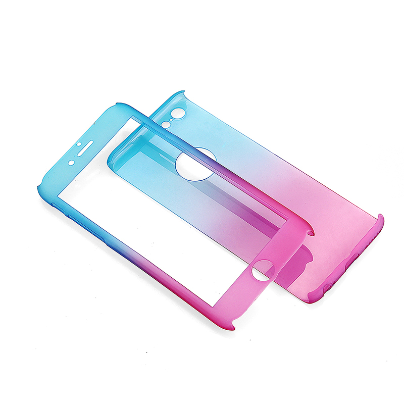 Full Coverage Colorful Hard Shockproof Cover with Tempered Glass Screen Protector for iPhone 6 - Blue + Red