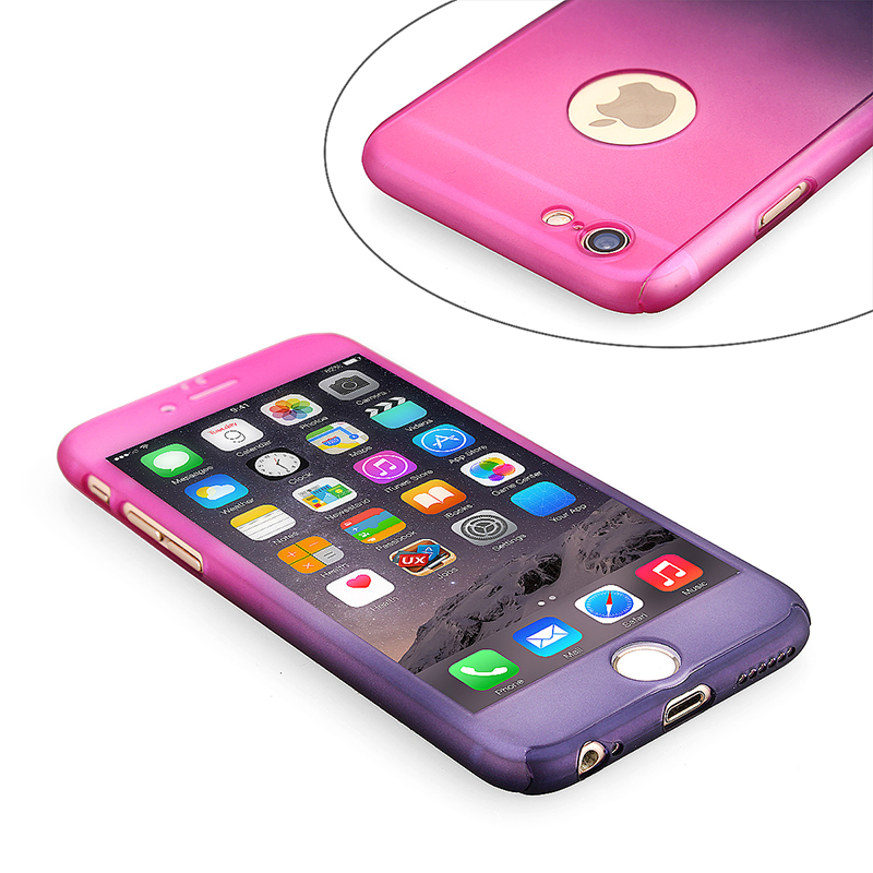 Full Coverage Colorful Hard Shockproof Cover with Tempered Glass Screen Protector for iPhone 6 - Red + Purple