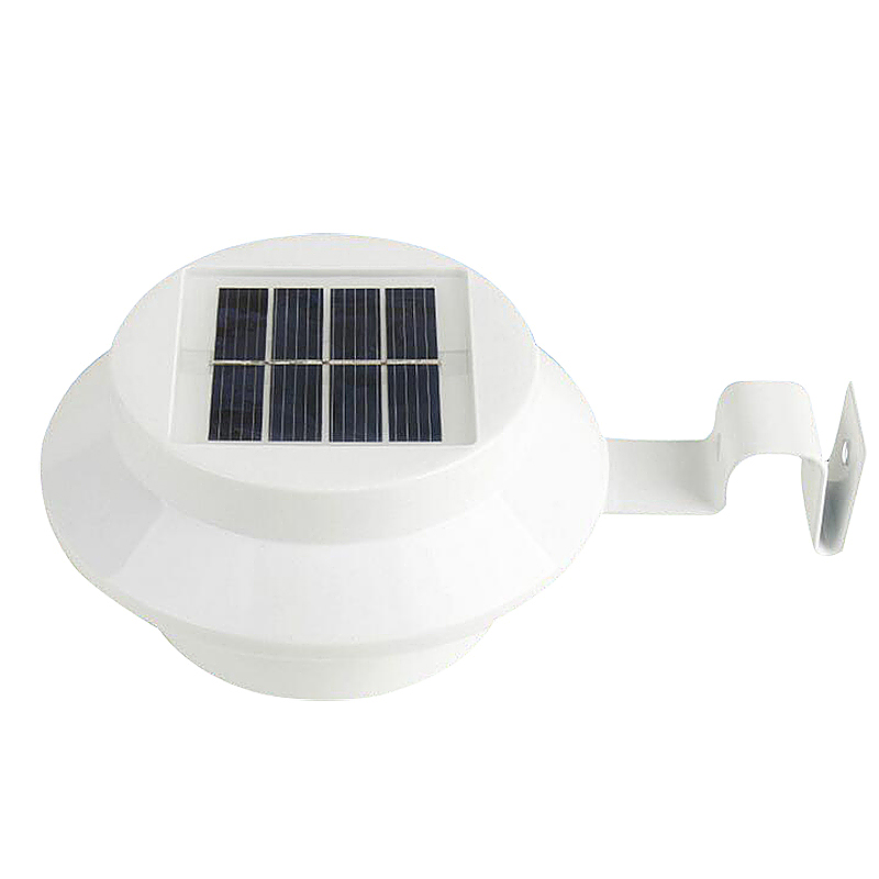 3 LED Solar Powered Gutter Lights Outdoor Garden Wall Fence Lamp - White