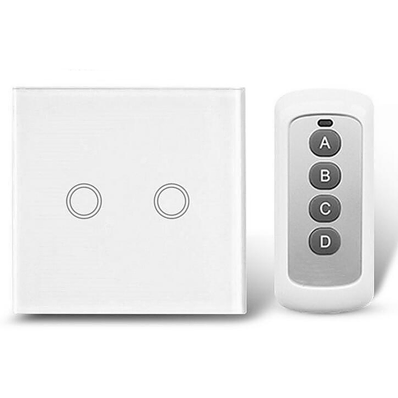 2 Way Glass Panel Touch Light Switches Remote Controller - White