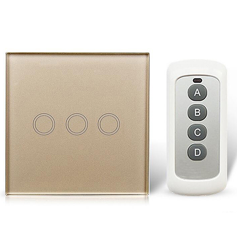 3 Way Glass Panel Touch Light Switches Remote Controller - Gold
