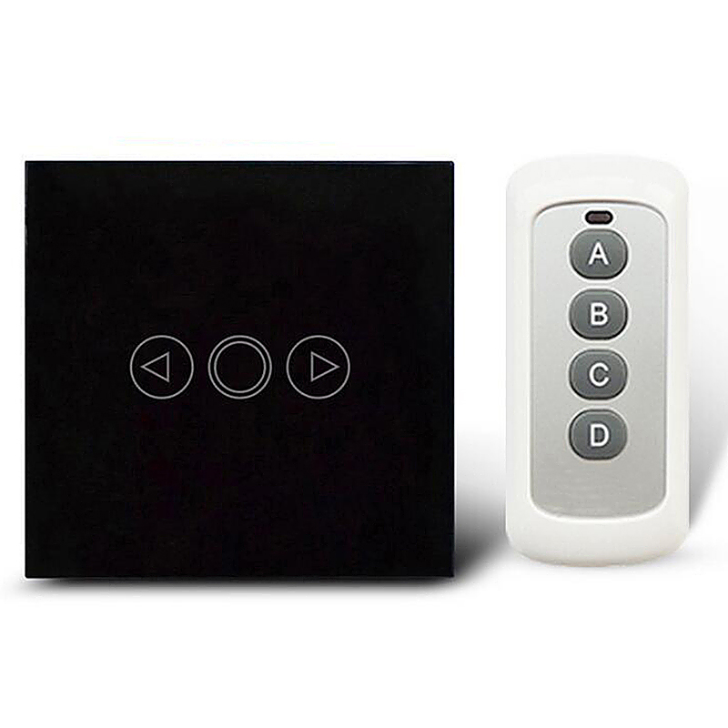 Luxury Glass Panel Touch Dimmer Smart Home Remote LED Switch - Black