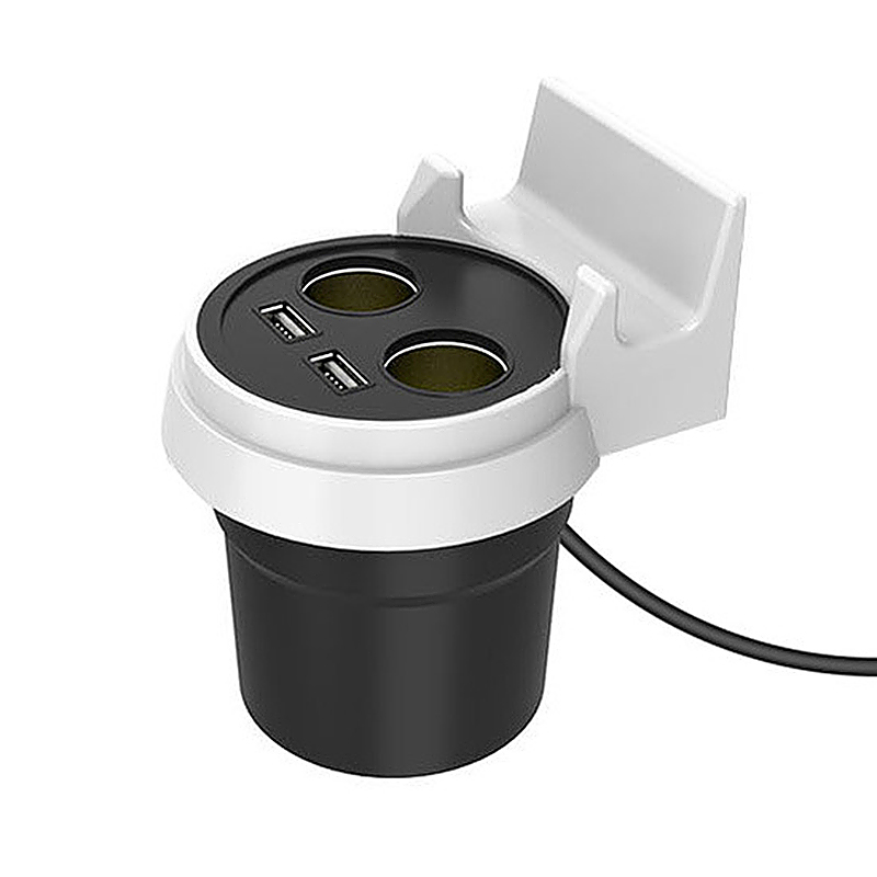3.1A Cup Car Charger Cigarette Lighter Dual USB Ports with Phone Holder for Mobile Phones - White