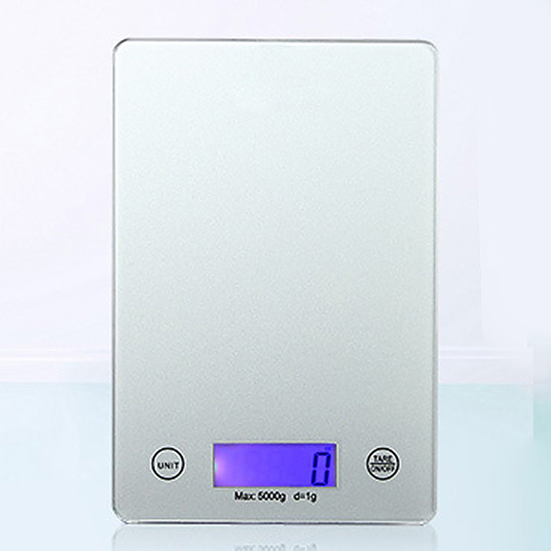 Digital Weighing Kitchen Scale 5Kg LCD Electronic Glass Cooking Food Postal - Sliver