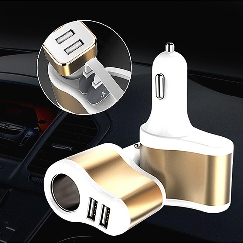 12-24v Car Cigarette Lighter Socket Dual USB Ports Charger Adaptor