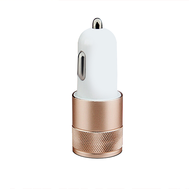 Universal Dual 2 Port USB 12V Car Charger - Gold