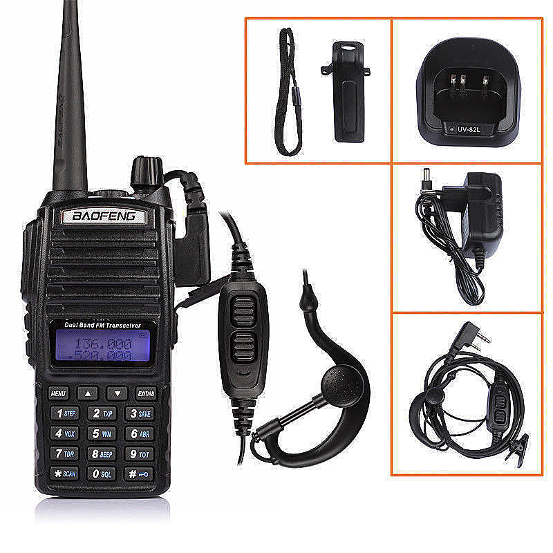 Baofeng UV-82 Two-Way Radio Walkie Talkie Dual Band UHF VHF Radio with Earpiece