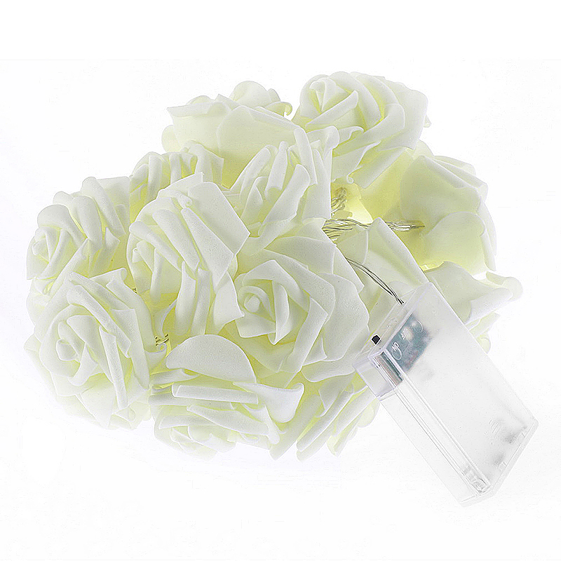 20 LED Rose Flower Wedding Garden Party Christmas Decoration String Lights - White