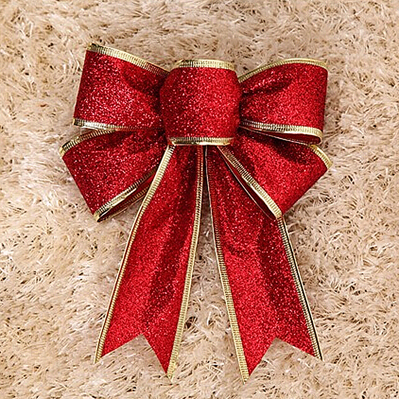 Bowknot Christmas Tree Party Gift Present Xmas Decoration - Red