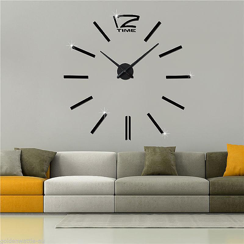 DIY Numbers Frameless Quartz 3D Big Mirror Surface Effect Wall Clock - Black