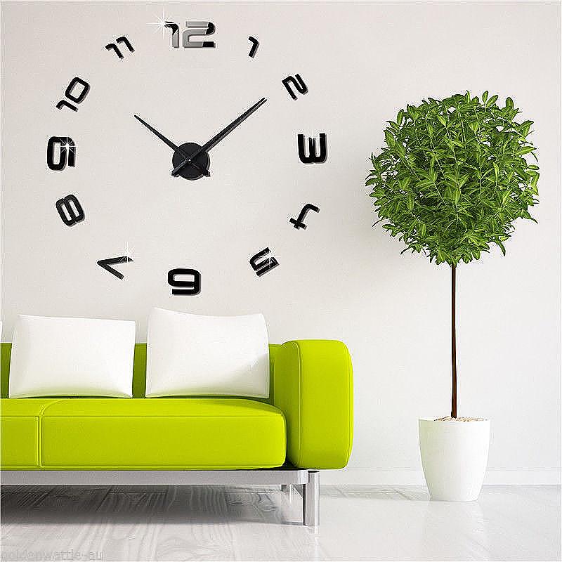 DIY Numbers 3D Big Mirror Surface Frameless Quartz 12 Hours Wall Clock - Black