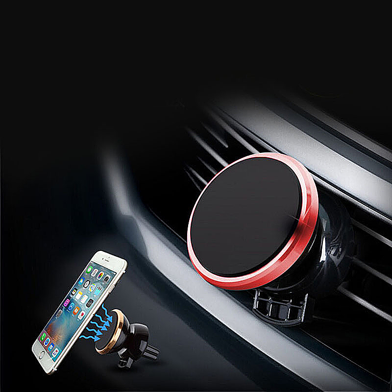 Universal 360 Rotation Magnetic Support Cell Phone Car Dash Holder Stand Mount - Red