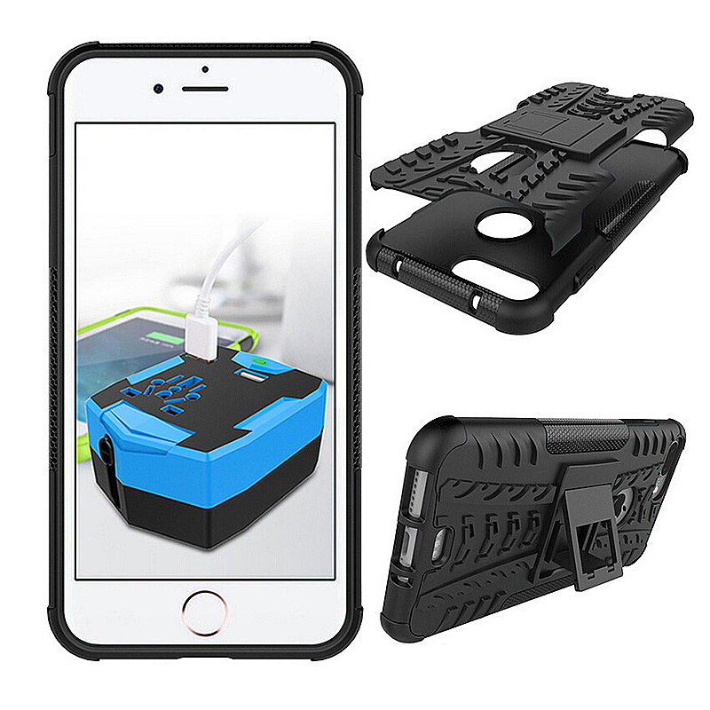 2 in 1 Shockproof Phone Case with Stand Protective Back Cover for iPhone 7 - Black