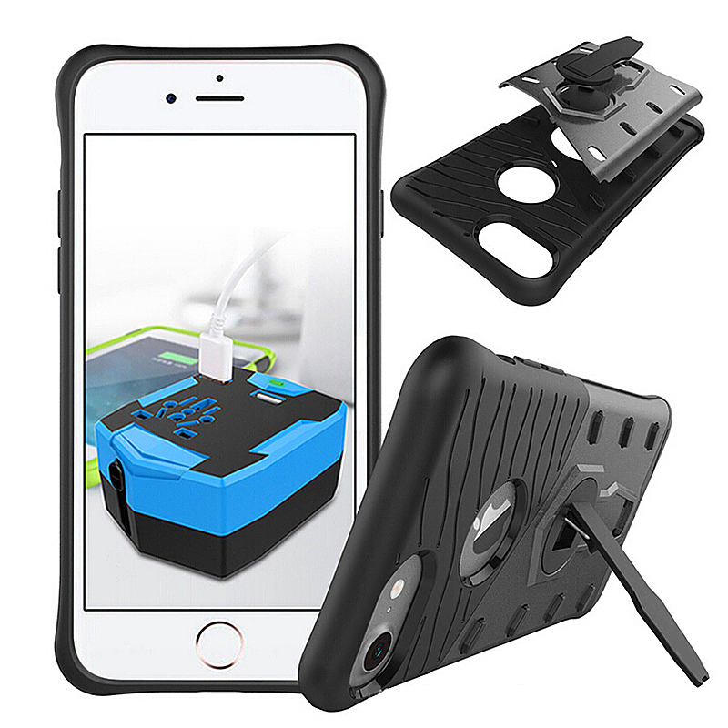Shockproof Phone Case with 360 Rotation Stand Back Cover for iPhone 7 - Black