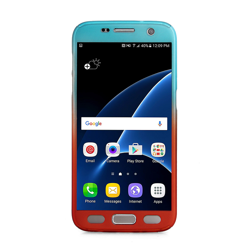 Full Coverage PC Hard Cover with Tempered Glass Screen Protector for Samsung S7 - Blue + Red