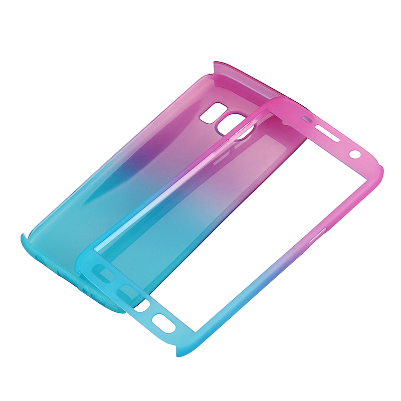 Full Coverage PC Hard Cover with Tempered Glass Screen Protector for Samsung S7 - Blue + Rose Red