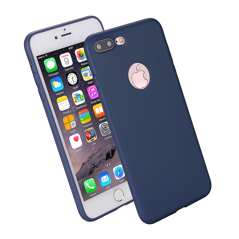 Fashion Multiple Color Soft TPU Phone Cover Case for iPhone 7 - Blue