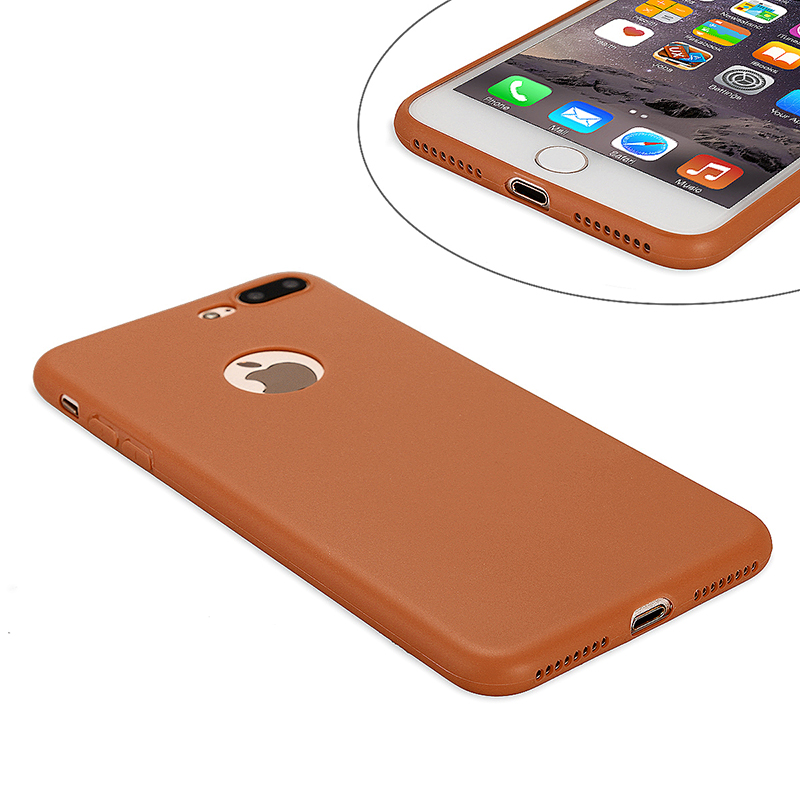 Fashion Multiple Color Soft TPU Phone Cover Case for iPhone 7 - Brown