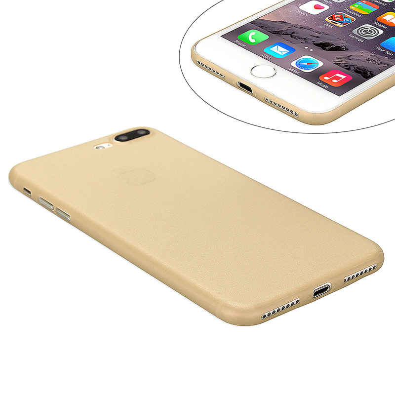 Fashion Full Cover PC Frosted Thin Phone Cover Case for iPhone 7 Plus - Light Yellow