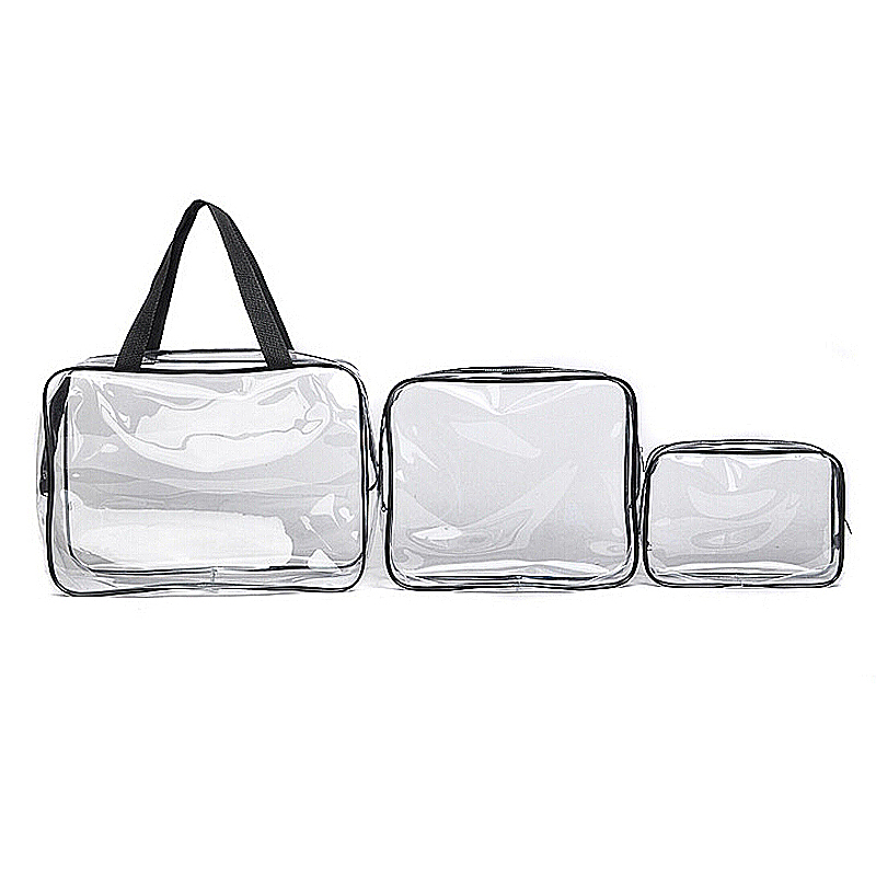 3 Pcs Transparent Waterproof Makeup Cosmetic Bags Set - Black