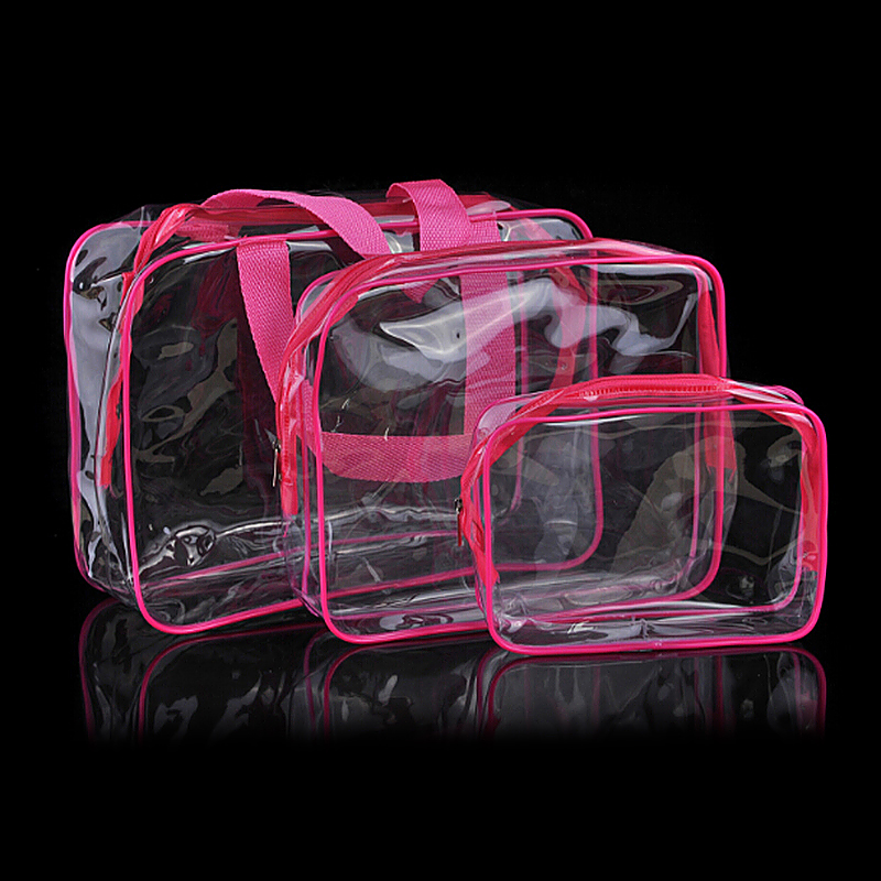 3 Pcs Transparent Waterproof Makeup Cosmetic Bags Set - Rose Red