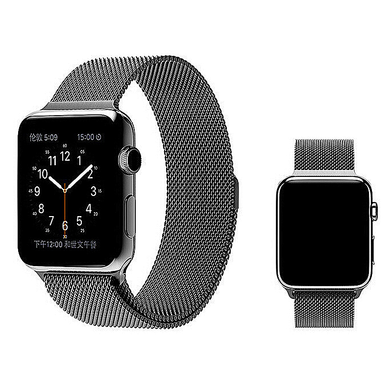 42mm Mesh Smooth Metal Strap Wrist Band Replacement Bracelet for Iwatch - Black