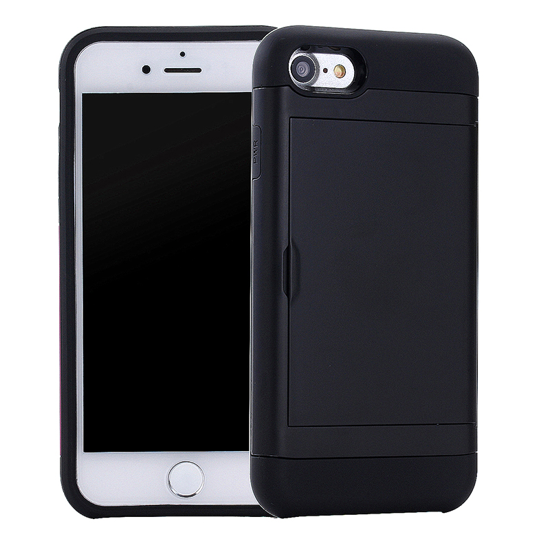 5.5inch Fashion Back Slot Card Phone Cover Case for iPhone 7 Plus - Black