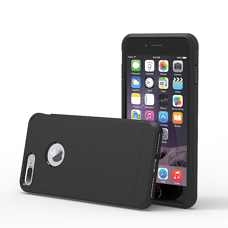 5.5inch Fashion Rugged Slim Protective Case for iPhone 7 Plus - Black