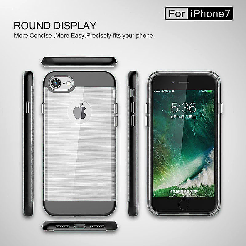 2 in 1 Fashion Brushed Slim Protective Case for iPhone 7 - Black