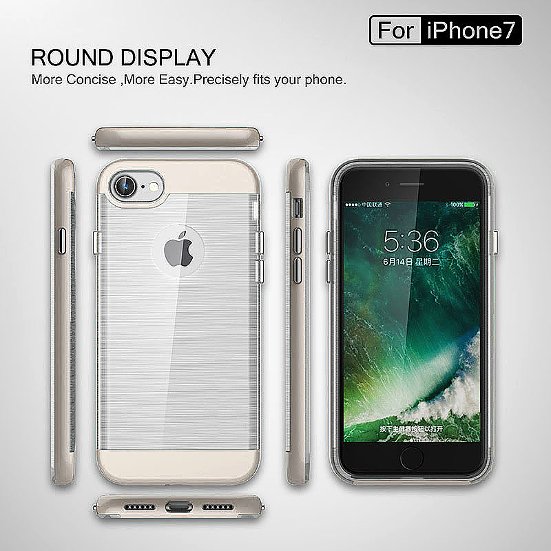 2 in 1 Fashion Brushed Slim Protective Case for iPhone 7 - White