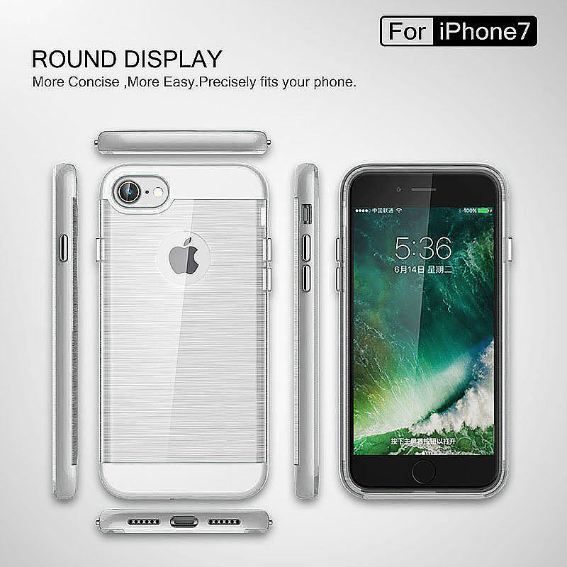 2 in 1 Fashion Brushed Slim Protective Case for iPhone 7 - Silver