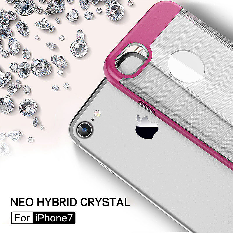 2 in 1 Fashion Brushed Slim Protective Case for iPhone 7 - Rose Red