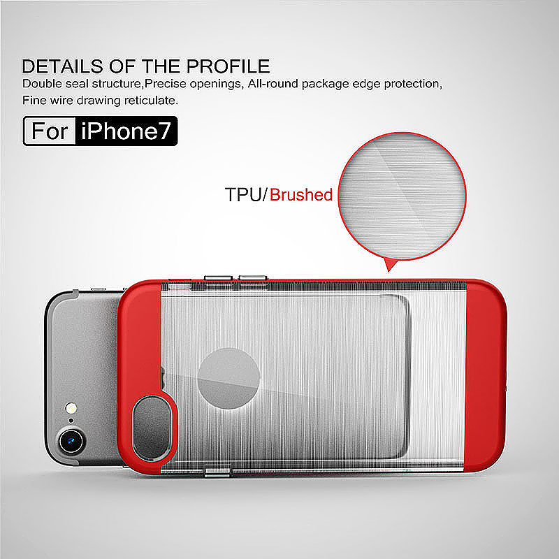 2 in 1 Fashion Brushed Slim Protective Case for iPhone 7 - Red