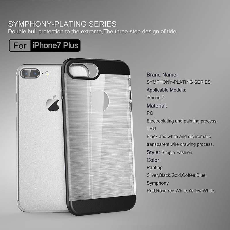 2 in 1 Fashion Brushed Slim Protective Case for iPhone 7 Plus - Black