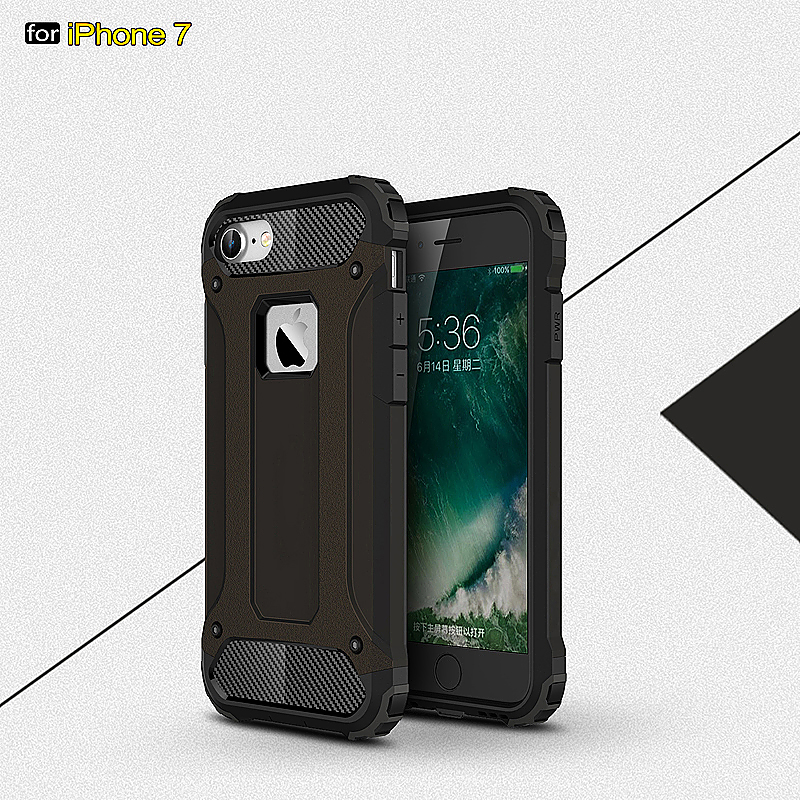 2 in 1 Hard PC Shockproof Protective Case for iPhone 7 - Black