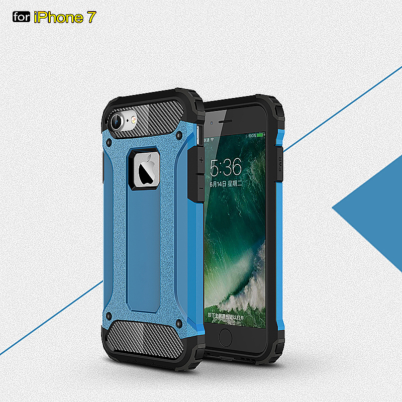 2 in 1 Hard PC Shockproof Protective Case for iPhone 7 - Blue