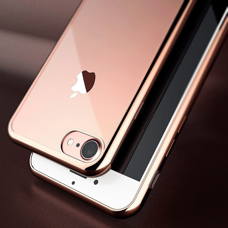 Crystal Shockproof Clear Soft TPU Gel Back Cover Case for iPhone 7 Plus - Rose Gold