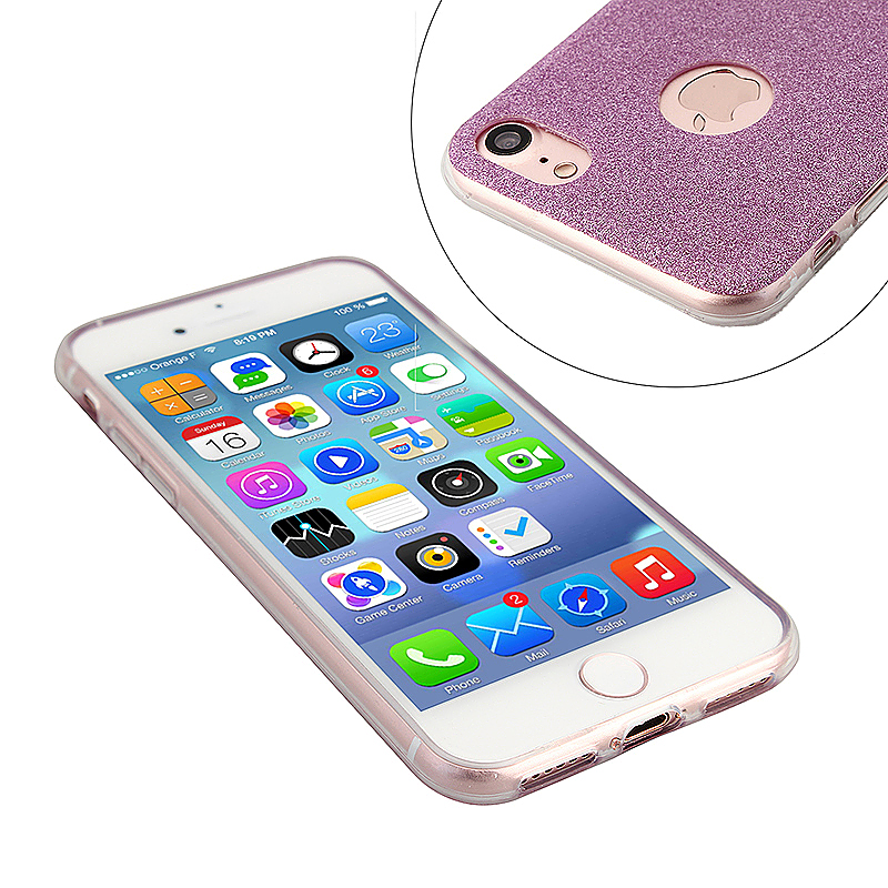 Luxury Bling Shiny Soft Phone Cover Case for iPhone 7 - Purple