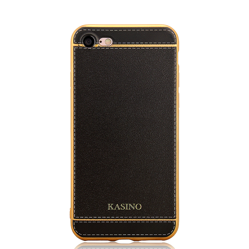 Fashion TPU Leather Phone Back Cover Case for iPhone 7 - Black
