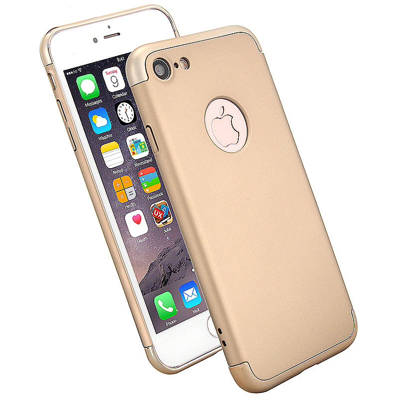3 in 1 Frosted Plating Fashion Phone Back Cover Case for iPhone 7 - Gold