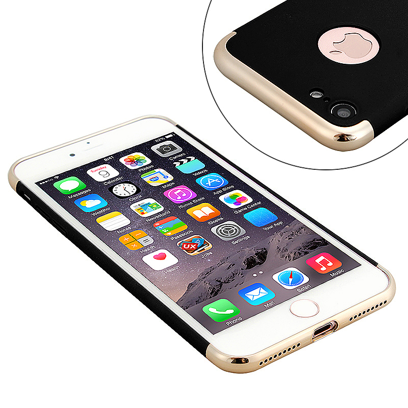 3 in 1 Frosted Plating Fashion Phone Back Cover Case for iPhone 7 - Black