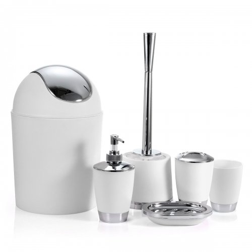 6 Piece Tumbler Bathroom Accessory Set Soap Dish Bin Toothbrush Holder - White