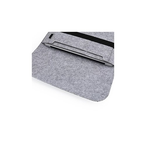 15 Inch Fashion Horizontal Open Felt Sleeve Laptop Case Cover Bag for MacBook - Grey