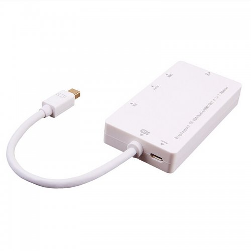 Mini DP Adapter 4 in 1 Mini Display Port to HDMI/DVI/VGA/Audio Converter - White