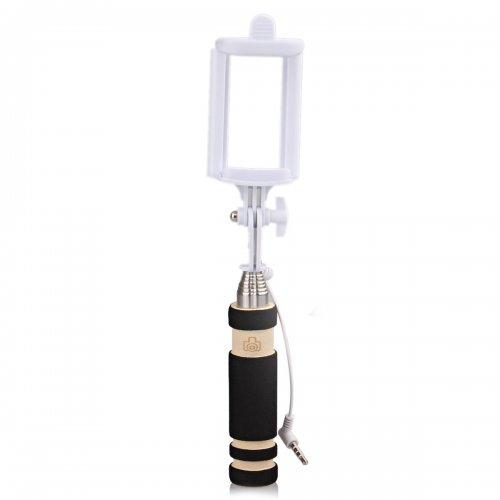 Super Mini Wired Foldable Selfie Stick Monopod - Black