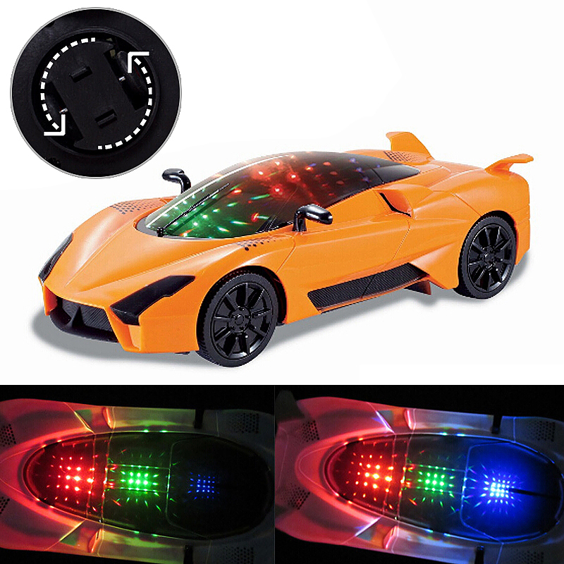 Kids 3D Racing Vehicle Toy Light Music Car - Orange