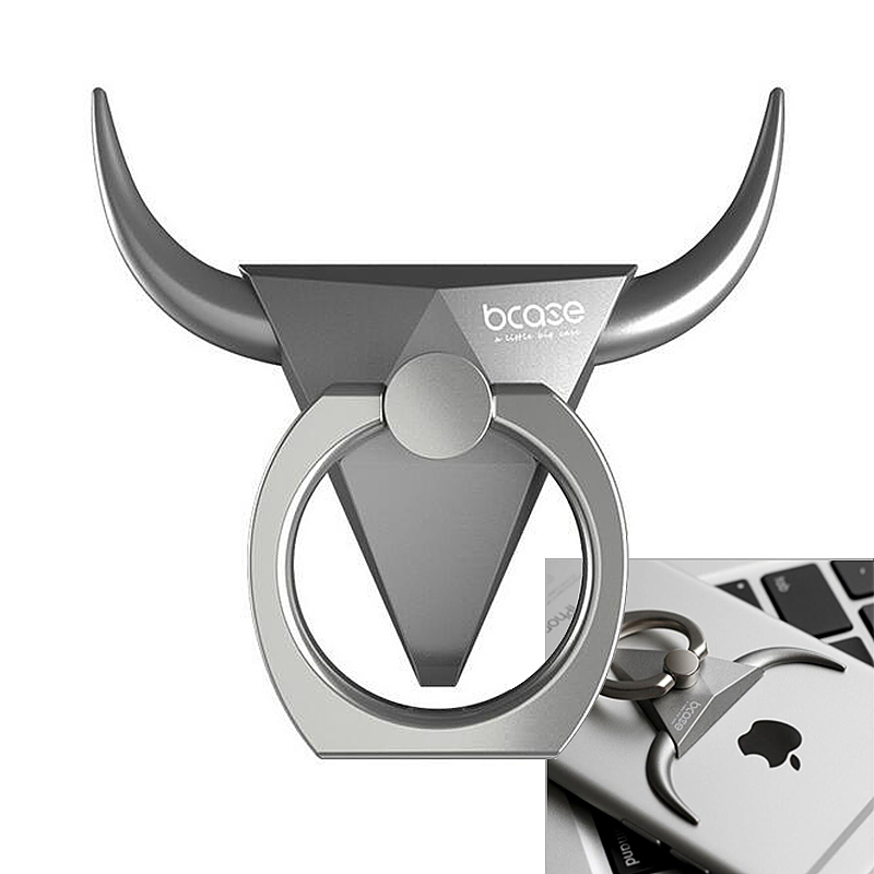 BCASE Bull Shape Finger Ring Holder Kickstand for iPhone Android Phone - Silver