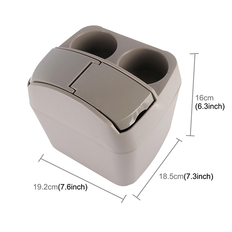Multifunction 2 in 1 Car Auto Drink Bottle Holder with Trash Garbage Bin - Beige